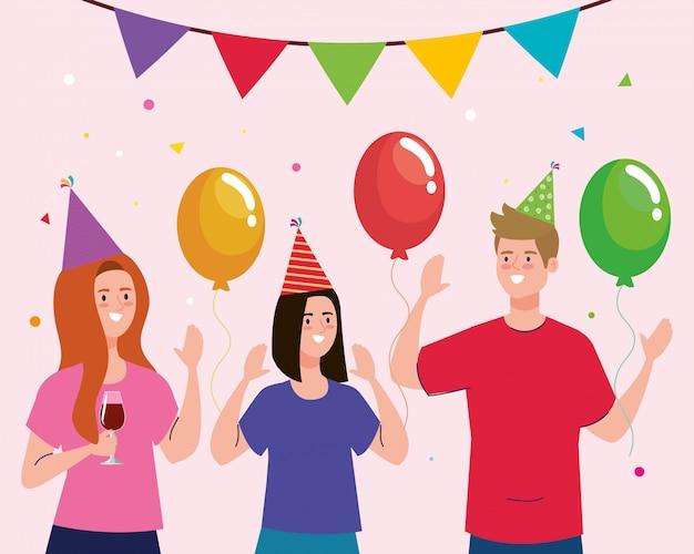 Desenhos animados de homem e mulher com chapéus e balões de festa