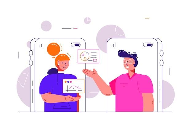 Desenhos animados de homem e mulher conversando por vídeo online
