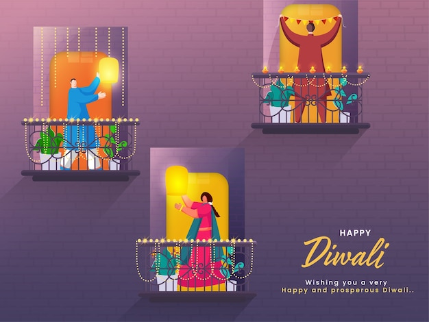 Desenhos animados de homem e mulher em pé na varanda decorativa para feliz celebração de diwali.