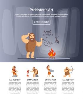 Desenhos animados de homens das cavernas banner para página de destino