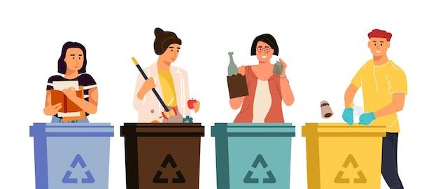Desenhos animados de homens e mulheres colocando lixo em diferentes recipientes