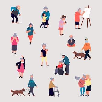 Desenhos animados de homens e mulheres idosos realizando atividades ao ar livre nas ruas da cidade