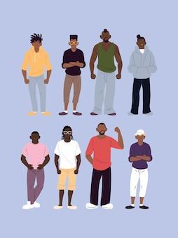 Desenhos animados de homens negros com estilo urbano, diversidade de pessoas, raça multiétnica e ilustração temática multicultural