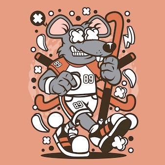 Desenhos animados de hóquei em campo de rato