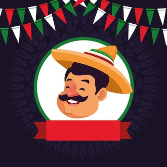 Desenhos animados de ícone de avatar de cara de homem mexicano
