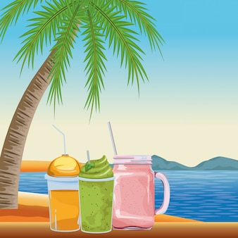 Desenhos animados de ícone de bebida tropical smoothie