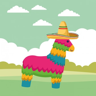 Desenhos animados de ícone de cultura tradicional mexicana