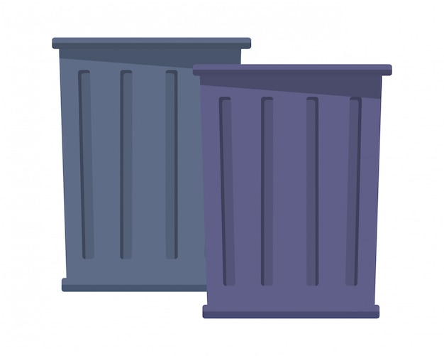 Desenhos animados de ícone de lata de lixo de lixo