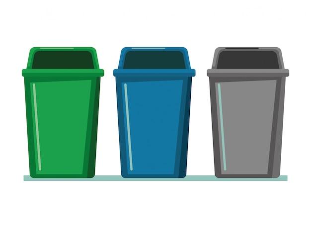 Desenhos animados de ícone de lata de lixo três