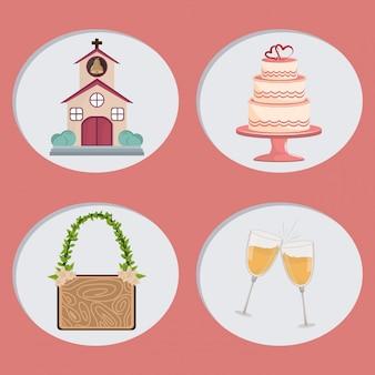 Desenhos animados de ícones de dia de casamento