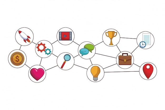 Desenhos animados de ícones de mídias sociais