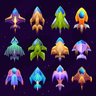 Desenhos animados de ícones de nave estelar, nave espacial e nave espacial