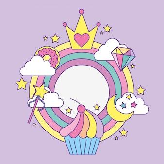 Desenhos animados de ícones de princesa fantasia
