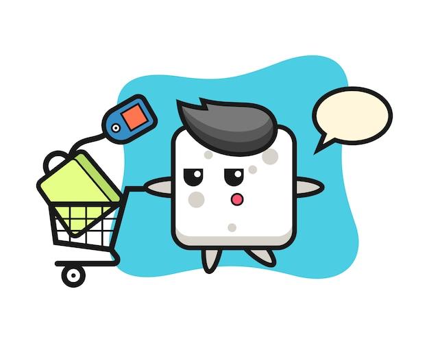 Desenhos animados de ilustração de cubo de açúcar com um carrinho de compras, estilo bonito para camiseta, adesivo, elemento de logotipo