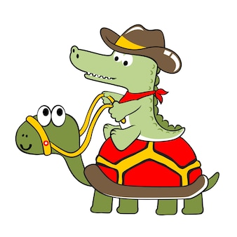 Desenhos animados de jacaré e tartaruga