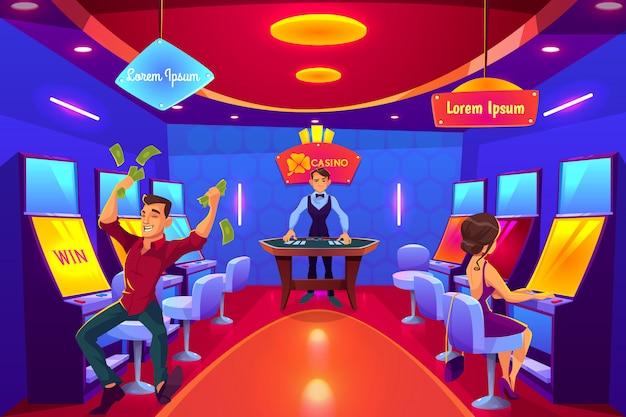 Desenhos animados de jogo do interior do salão do casino.