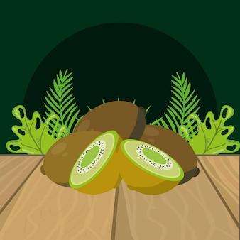 Desenhos animados de kiwi de frutas frescas