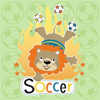 Desenhos animados de leão engraçados jogando atração de futebol