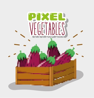 Desenhos animados de legumes de pixel