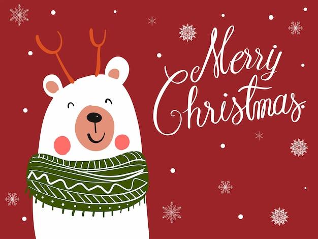 Desenhos animados de lenço de urso polar com festival de natal
