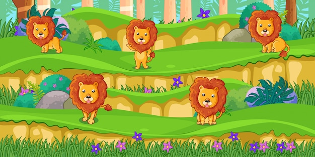 Desenhos animados de leões no belo jardim