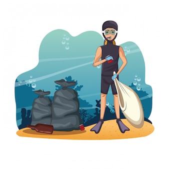 Desenhos animados de limpeza do mar