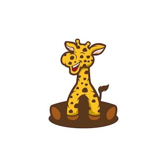 Desenhos animados de logotipo de girafa