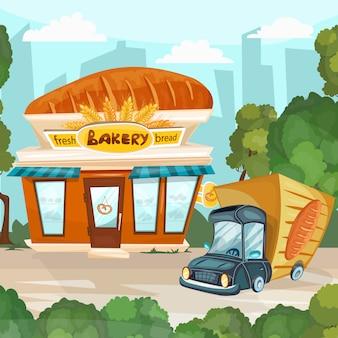 Desenhos animados de loja de padaria