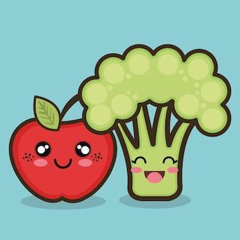 Desenhos animados de maçã e brócolis orgânicos de alimentos