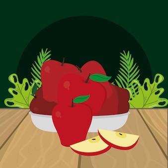 Desenhos animados de maçãs de frutas frescas