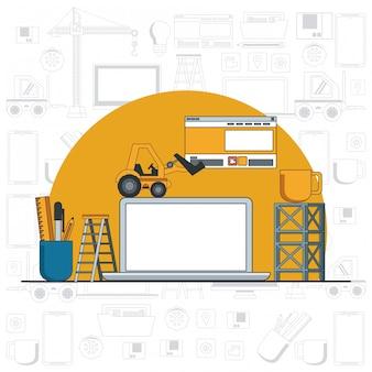 Desenhos animados de manutenção de laptop de dispositivo de tecnologia