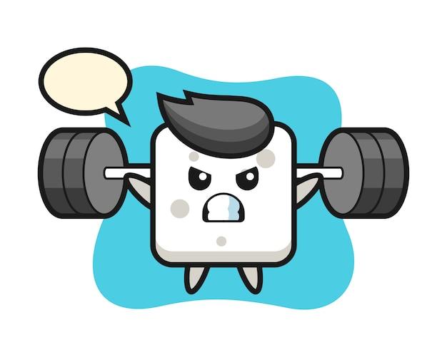 Desenhos animados de mascote de cubo de açúcar com um barbell, estilo bonito para camiseta, adesivo, elemento de logotipo