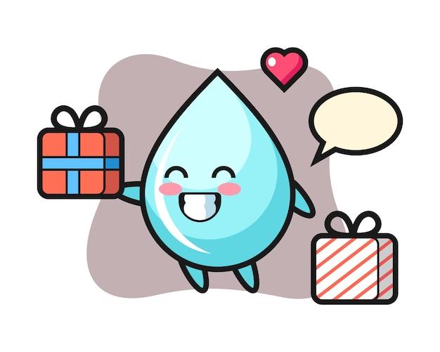 Desenhos animados de mascote de gota de água dando o presente, design de estilo bonito para camiseta