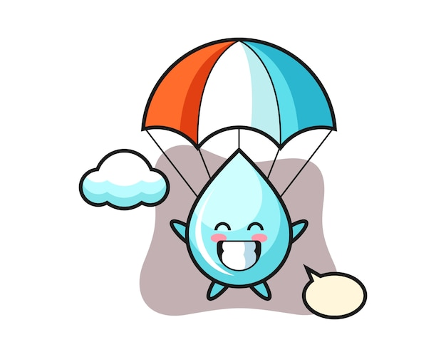 Desenhos animados de mascote de gota de água é pára-quedismo com gesto feliz, design de estilo bonito para camiseta