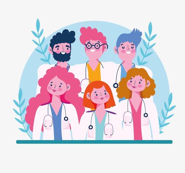 Desenhos animados de médicos de retrato