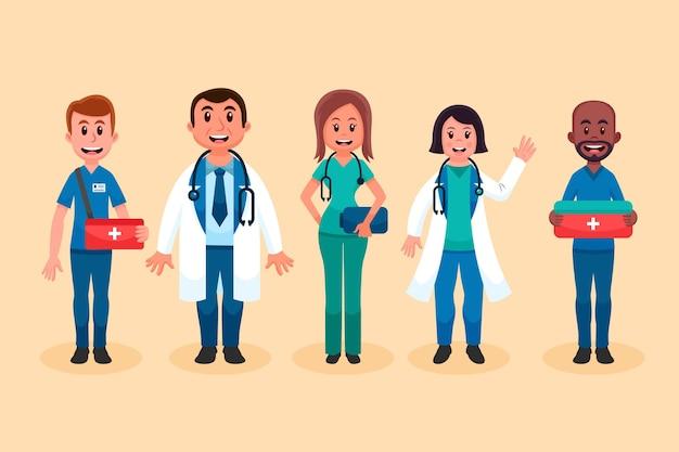 Desenhos animados de médicos e enfermeiras sorridentes