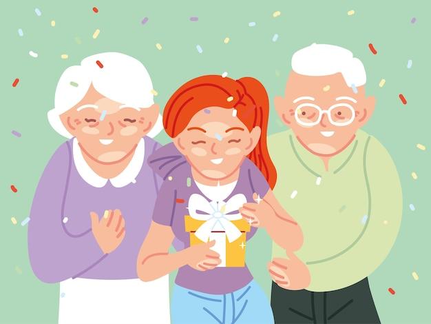 Desenhos animados de menina com avós abrindo presente, festa de decoração de festa de feliz aniversário e ilustração de tema surpresa