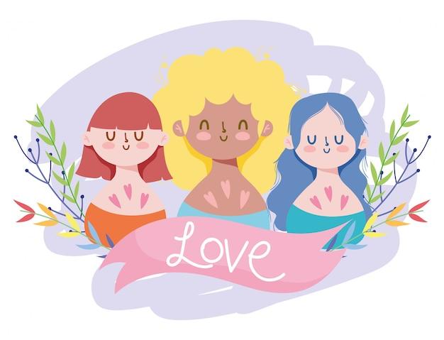 Desenhos animados de meninas com folhas de lgtbi e design de fita de amor