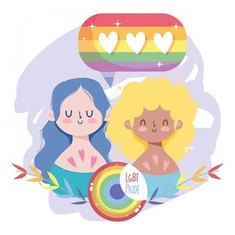 Desenhos animados de meninas com selo lgtbi folhas e corações bolha design
