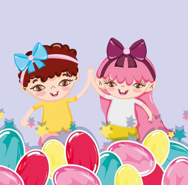 Desenhos animados de meninas e doces
