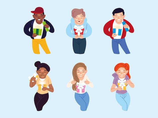 Desenhos animados de meninas e meninos abrindo design de presentes, decoração de festa de festa de feliz aniversário e ilustração de tema surpresa