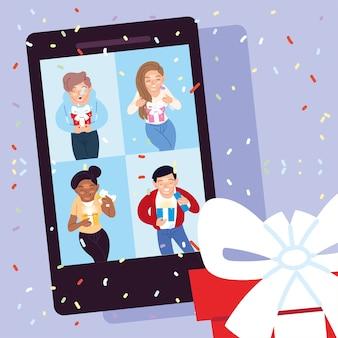 Desenhos animados de meninas e meninos abrindo presentes no smartphone, decoração de festa de celebração de feliz aniversário e ilustração de tema surpresa