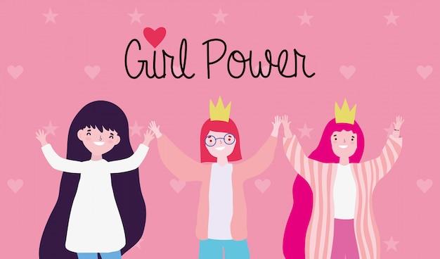Desenhos animados de meninas poderosas e fortes