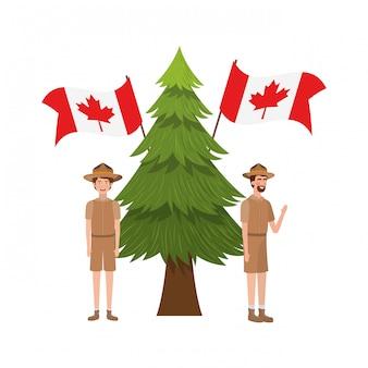 Desenhos animados de menino e homem de guarda florestal