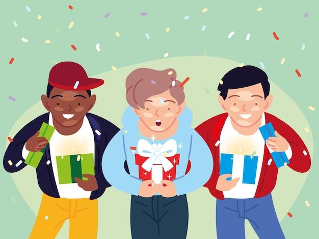 Desenhos animados de meninos abrindo presentes, festa de decoração de festa de feliz aniversário e ilustração de tema surpresa