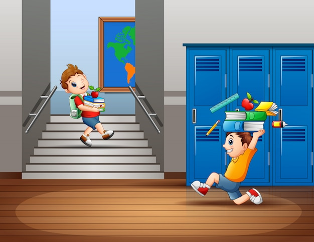 Desenhos animados de meninos carregando um material escolar