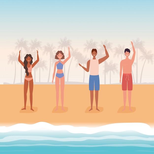 Desenhos animados de meninos e meninas com maiô na praia com desenho vetorial de palmeiras