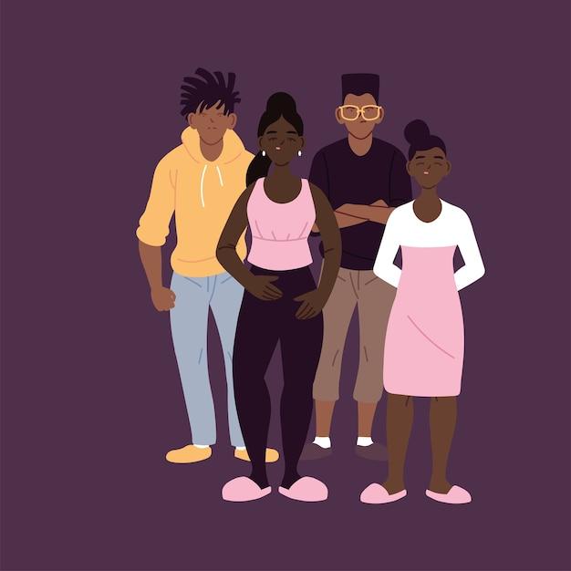 Desenhos animados de meninos e meninas negros com estilo urbano, diversidade de pessoas, raça multiétnica e ilustração temática multicultural