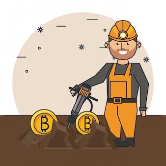 Desenhos animados de mineração bitcoin