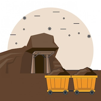 Desenhos animados de mineração de diamantes